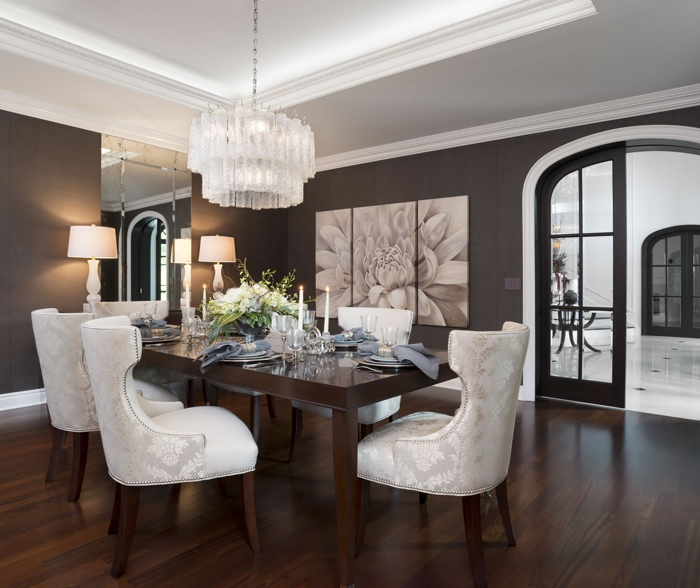 Formal dining room decor exceed your limits dining for Model home dining room