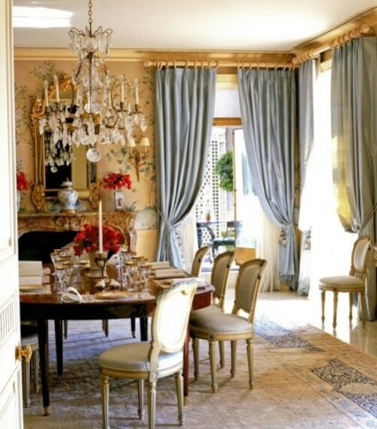 Dining room 39 s curtains role in interior decoration for Dining room drapes