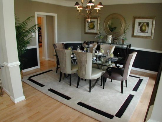 Transform the whole dining room look with beauty and practical rug