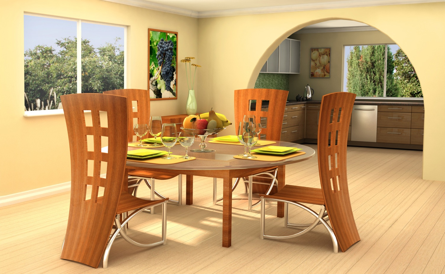 White And Wood Kitchen Table Set