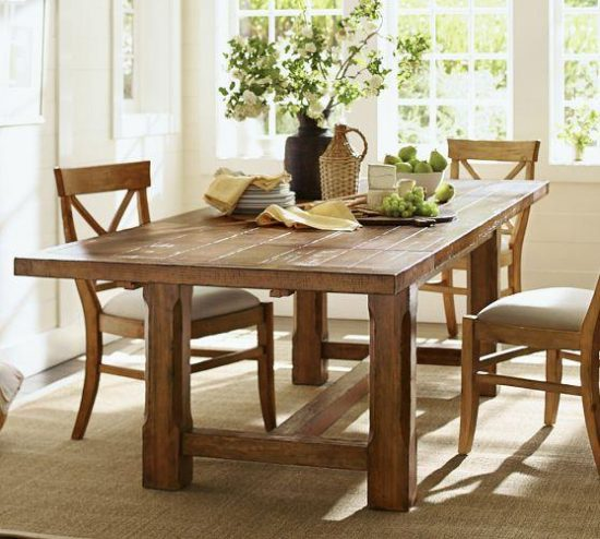 Farm style dining table never miss an online sale for Styling dining room table