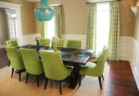 Upholstered dining chairs; a touch of beauty and coziness in dining space