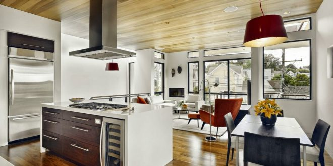 modern kitchen and dining space combination get the best of both in one unique room