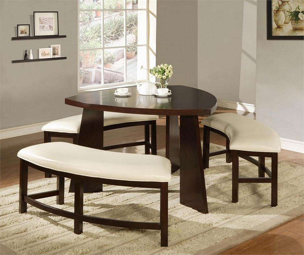 Small spaces dining room table chairs there is always for Small dining set with bench