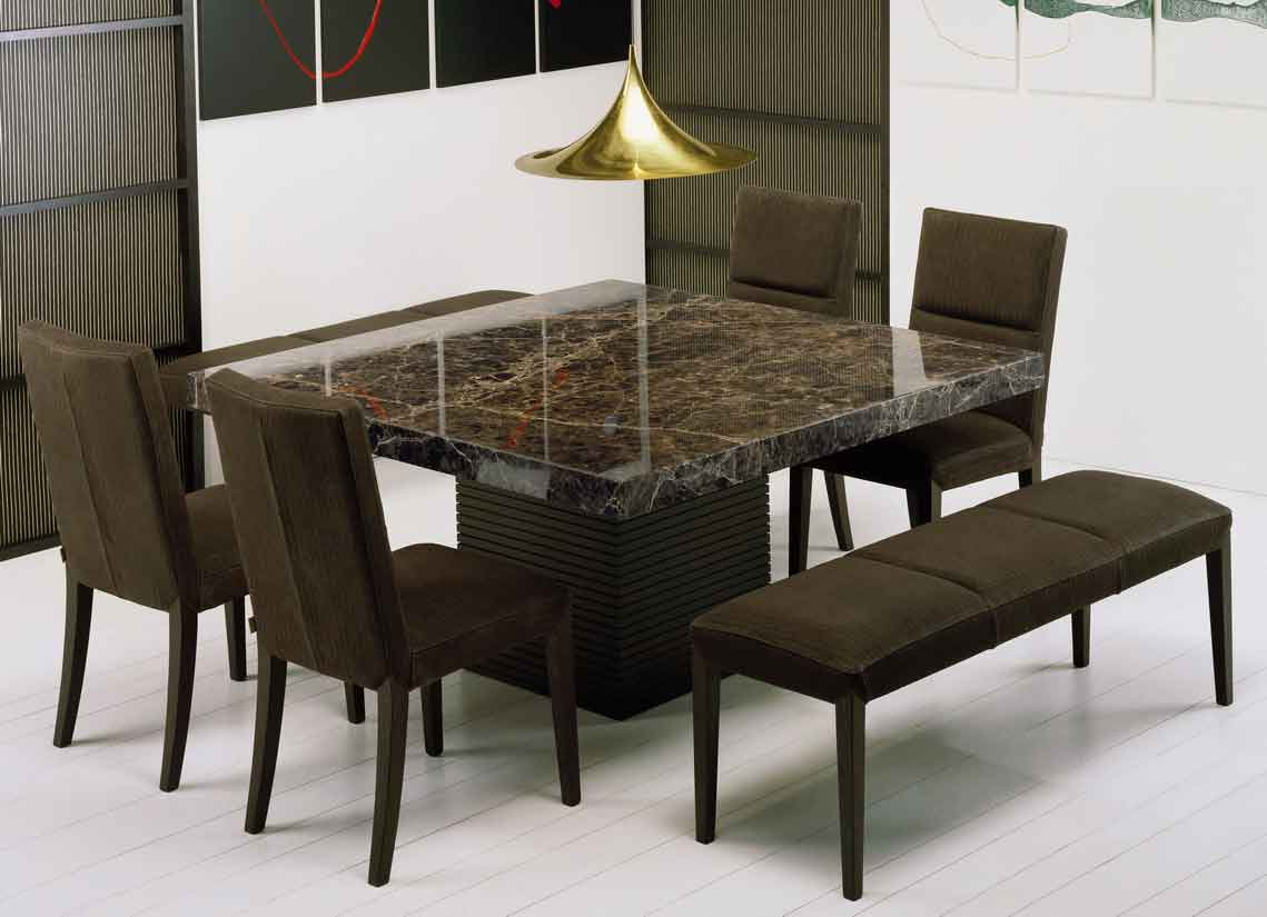 Get extraordinary fashionable look with 2018 marble dining for Dining room tables booth style